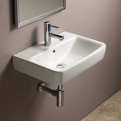 Comprimo Ceramic 22 Wall Mount Bathroom Sink with Overflow