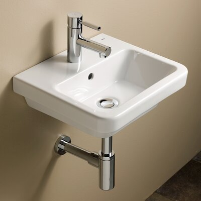 Universal Ceramic 16 Wall Mount Bathroom Sink with Overflow
