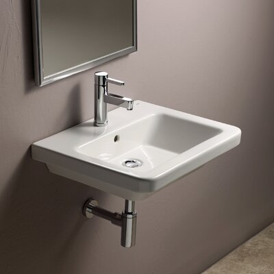 Universal Ceramic 22 Wall Mount Bathroom Sink with Overflow