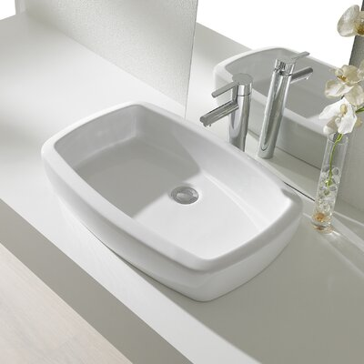Universal Ceramic Rectangular Vessel Bathroom Sink with Overflow