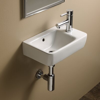 Comprimo Ceramic 16 Wall Mount Bathroom Sink with Overflow