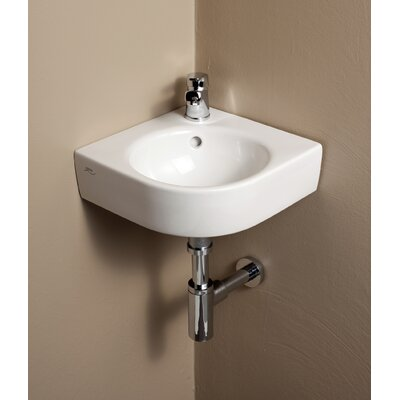 Comprimo Ceramic Specialty Wall-Mount Bathroom Sink with Overflow