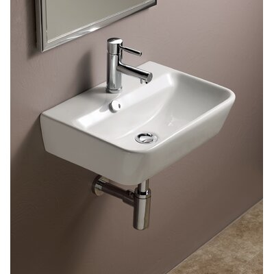 Emma Ceramic 20 Wall Mounted Bathroom Sink with Overflow
