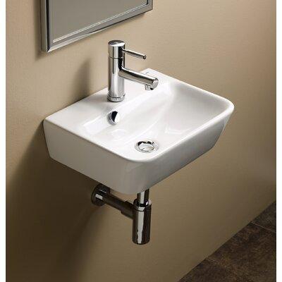 Emma Ceramic 17 Wall Mount Bathroom Sink with Overflow