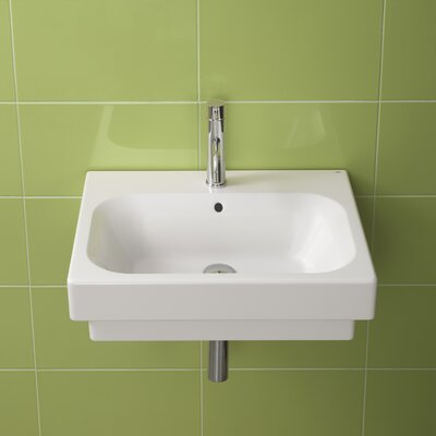 Universal Flex Ceramic 20 Wall Mounted Bathroom Sink with Overflow