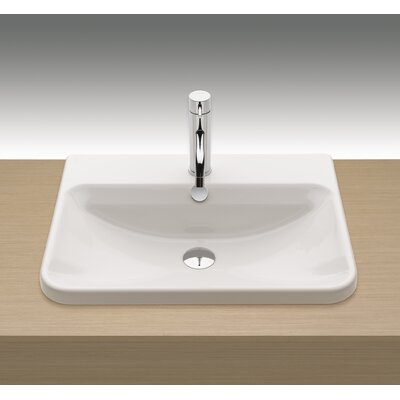Emma Vitreous China Rectangular Drop-In Bathroom Sink with Overflow