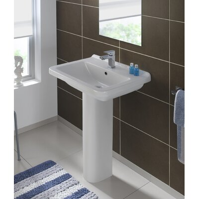 Pro Vitreous China 24 Pedestal Bathroom Sink with Overflow