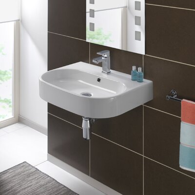 Pro Vitreous China 24 Wall Mount Bathroom Sink with Overflow