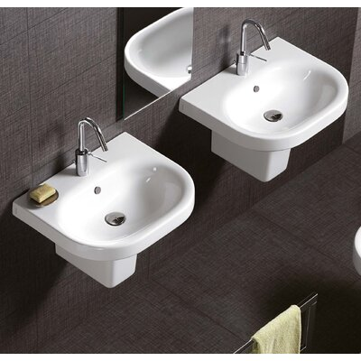 Daytime Vitreous China 18 Semi Pedestal Bathroom Sink with Overflow