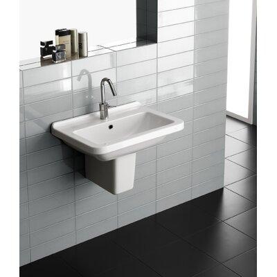 Erika Vitreous China 24 Semi Pedestal Bathroom Sink with Overflow