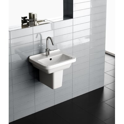 Erika Vitreous China 18 Semi Pedestal Bathroom Sink with Overflow