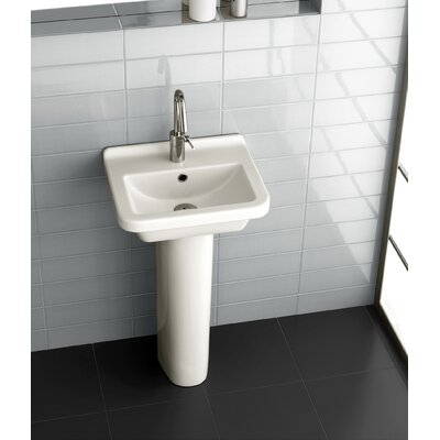 Pro Vitreous China 18 Pedestal Bathroom Sink with Overflow