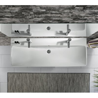 Smyle Vitreous China 48 Wall Mount Bathroom Sink with Overflow