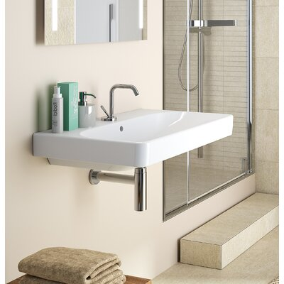 Smyle Vitreous China 36 Wall Mount Bathroom Sink with Overflow