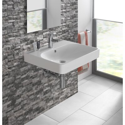 Smyle Vitreous China 24 Wall Mount Bathroom Sink with Overflow