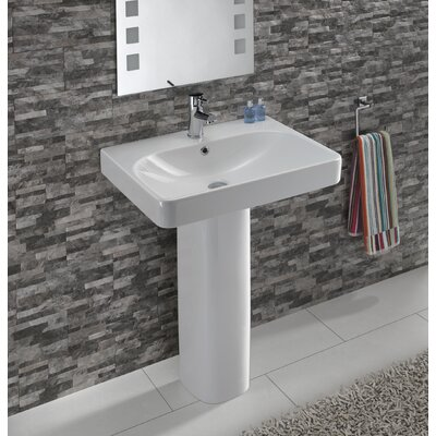 Smyle Vitreous China 24 Pedestal Bathroom Sink with Overflow