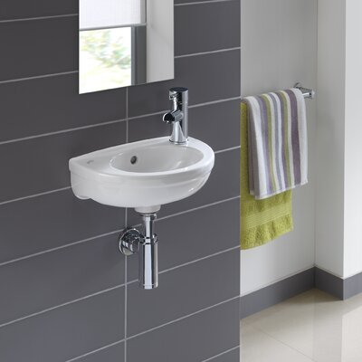 Twins Vitreous China 15 Wall Mount Bathroom Sink with Overflow