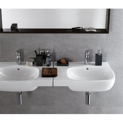 Moda Ceramic 26 Wall Mount Bathroom Sink with Overflow