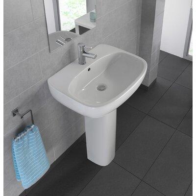 Moda Vitreous China 24 Pedestal Bathroom Sink with Overflow