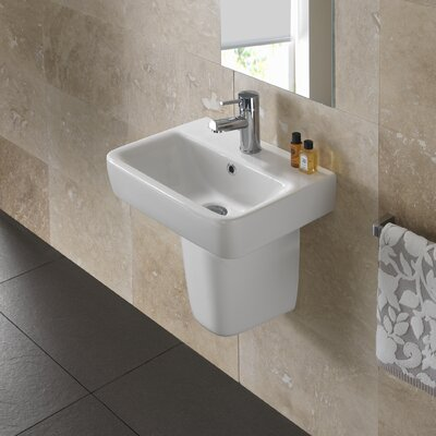 Comprimo Vitreous China 18 Wall Mount Bathroom Sink with Overflow