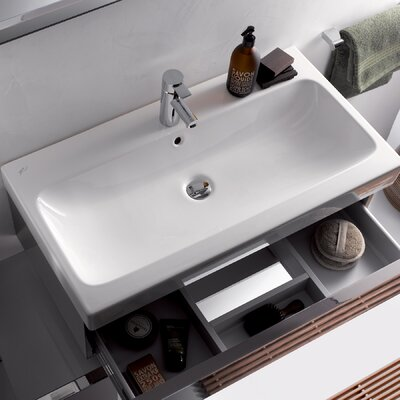 ICon Ceramic Rectangular Vessel Bathroom Sink with Overflow