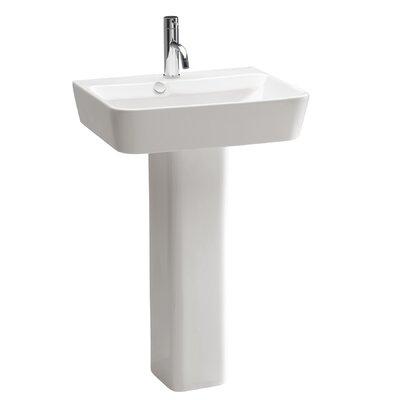 Emma Ceramic 20 Pedestal Bathroom Sink with Overflow
