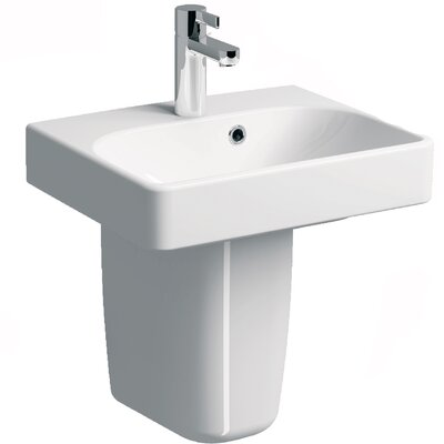 Smyle Vitreous China 18 Semi Pedestal Bathroom Sink with Overflow