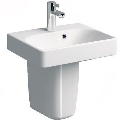 Smyle Vitreous China 18 Semi Pedestal Bathroom Sink with Overflow
