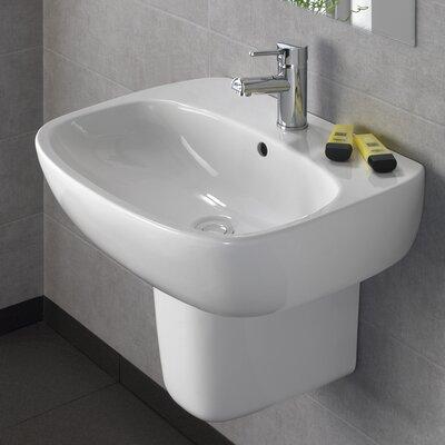 Moda Vitreous China 22 Semi Pedestal Bathroom Sink with Overflow