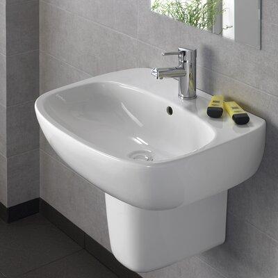 Moda Vitreous China 20 Semi Pedestal Bathroom Sink with Overflow