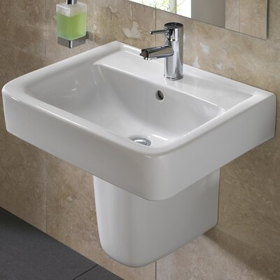 Renova Vitreous China 22 Semi Pedestal Bathroom Sink with Overflow