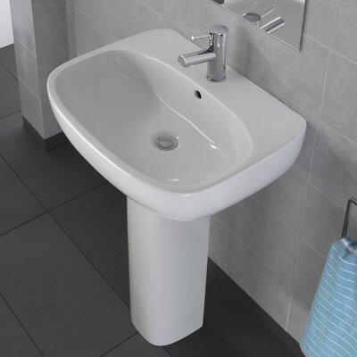 Moda Vitreous China 20 Pedestal Bathroom Sink with Overflow