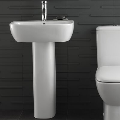Moda Vitreous China 22 Pedestal Bathroom Sink with Overflow