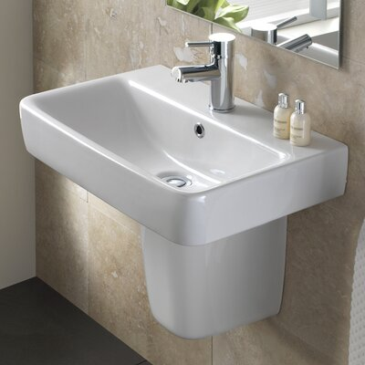 Comprimo Vitreous China 22 Semi Pedestal Bathroom Sink with Overflow