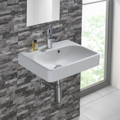 Smyle Vitreous China 18 Wall Mount Bathroom Sink with Overflow