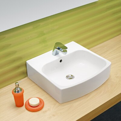 Universal Ceramic Rectangular Vessel Bathroom Sink with Overflow