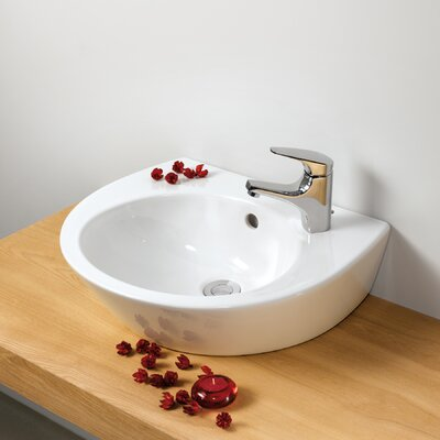 Universal Pop 36 Porcelain 20 Wall Mounted Bathroom Sink with Overflow