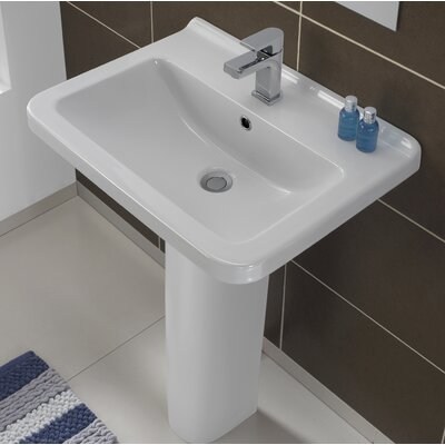 Erika Vitreous China 22 Pedestal Bathroom Sink with Overflow