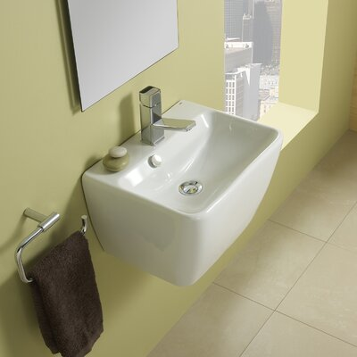 Emma Ceramic 18 Wall Mount Bathroom Sink with Overflow