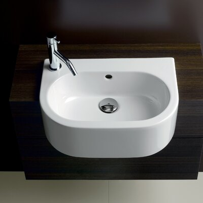 Area Boutique Ceramic U-Shaped Vessel Bathroom Sink with Overflow Sink mount: Left-hand faucet hole