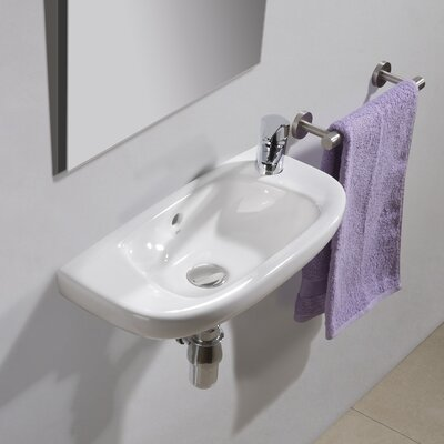 Universal Ceramic 20 Wall Mount Bathroom Sink with Overflow