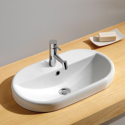 Traffic Ceramic Oval Drop-In Bathroom Sink with Overflow