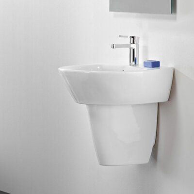 Universal Jazz 50 Porcelain 20 Wall Mounted Bathroom Sink with Overflow