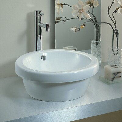 Traffic Ceramic Circular Vessel Bathroom Sink with Overflow
