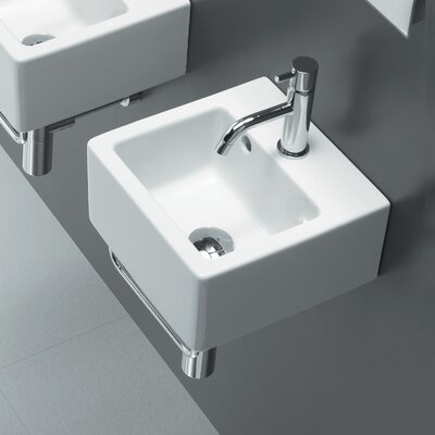 Area Boutique Ceramic 12 Wall Mount Bathroom Sink with Overflow