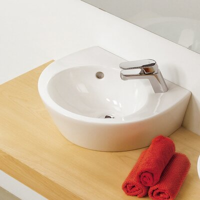 Universal Pop 36 Porcelain 14 Wall Mounted Bathroom Sink with Overflow