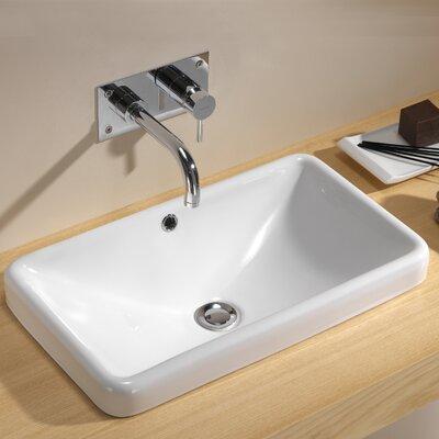 Traffic Ceramic Rectangular Drop-In Bathroom Sink with Overflow