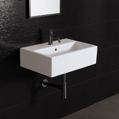 Area Boutique Ceramic 24 Wall Mount Bathroom Sink with Overflow Faucet Mount: Single Hole