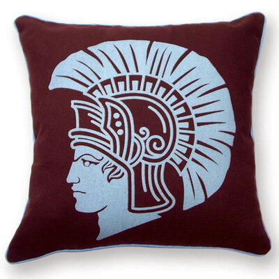 Spartan Cotton Throw Pillow Color: Burgundy