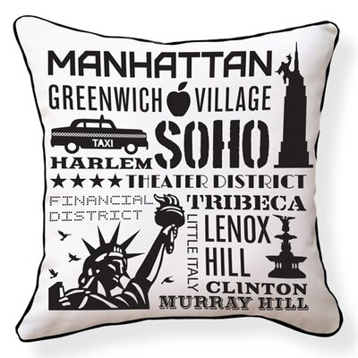 NYC Neighborhoods Cotton Throw Pillow